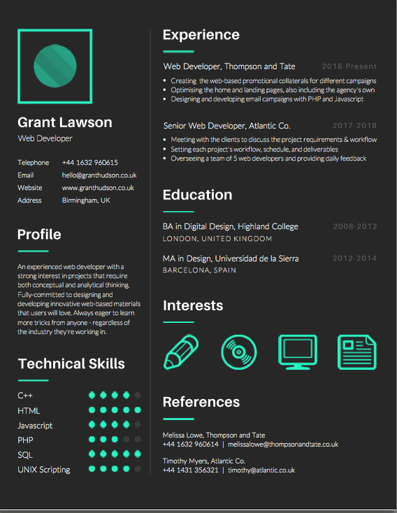 modern editable resume templates